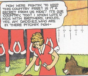 Annie does laundry and philosophy. Yes, all her dresses are red and in the same style. Art by Harold Gray.